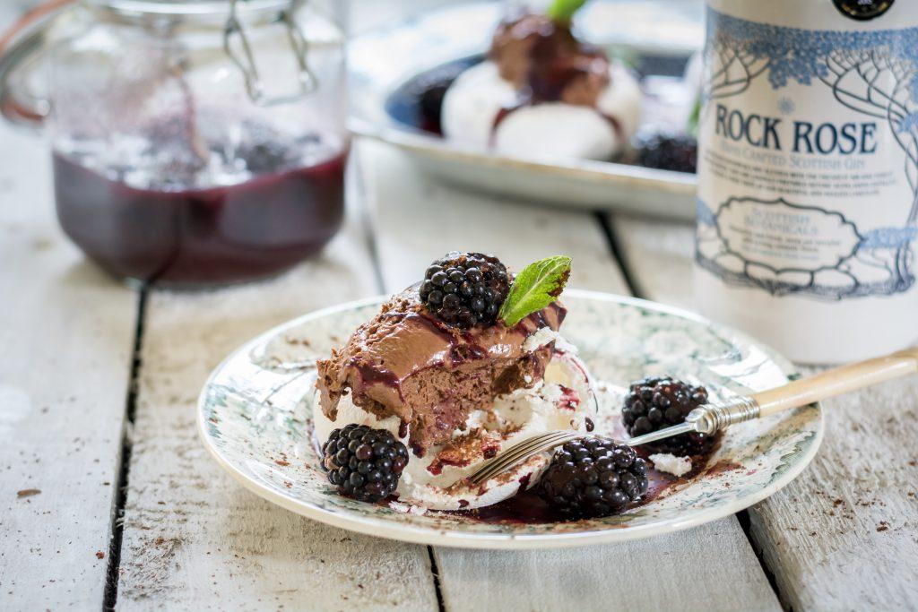 Chocolate pavlova with Rock Rose soaked blackberries