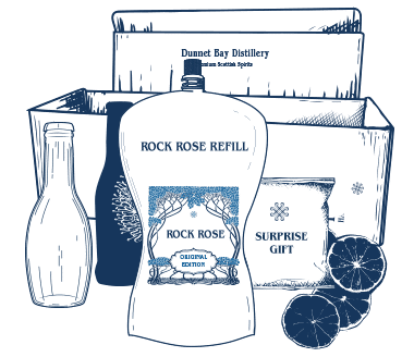 Illustration of dUnnet Bay Distillers Refill Rewards Club Box